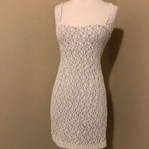 Free People Creme Lace Lavender Liner Empire Dress